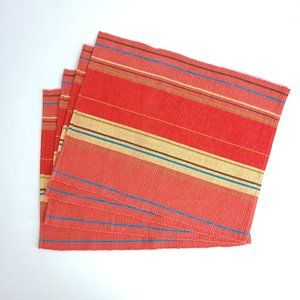 Vintage Style Vibrant Striped Ribbed Placemats (4)